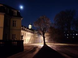 Schloss, Baum und Mond